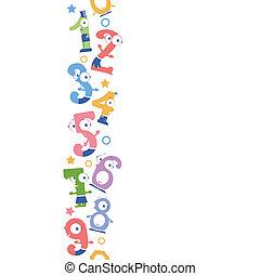 móka, számok, függőleges, seamless, motívum, háttér, határ