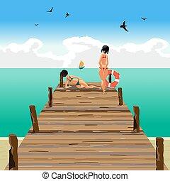 móló, lakás, fából való, távolság., vitorlázik, két, ábra, young külső, vektor, tengerpart, karikatúra, nők