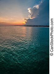 móló, okaloosa, tengerpart, színek