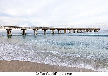 móló, tengerpart, florida, pompano