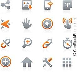 móvel, ícones correia fotorreceptora, grafita, 10