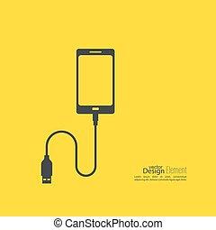 móvel, abstratos, phones., débito, fundo