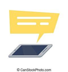 móvel, amarela, telefone, fala, retângulo, ícone