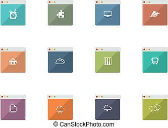 móvel, apartamento, aplicações, ícones, teia