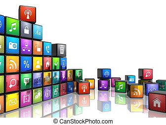 móvel, aplicações, conceito