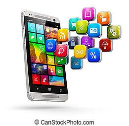 móvel, aplicações, conceito, internet