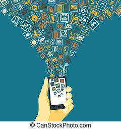 móvel, aplicações, funil