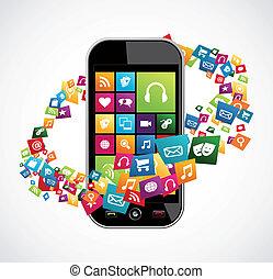 móvel, aplicações, smartphone