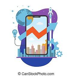 móvel, app, criação, lançamento, e, desenvolvimento, conceito