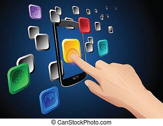 móvel, app, mão, tocar, nuvem, ícone