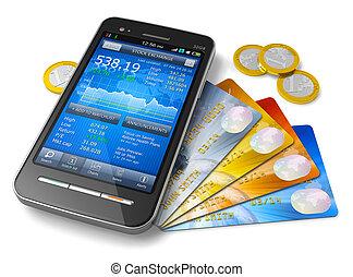 móvel, aterrando finanças, conceito