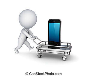 móvel, bonde compras, telefone., 3d, pessoa