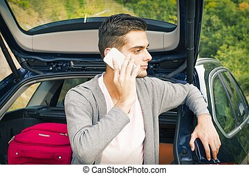 móvel, car, homem, jovem, telefone