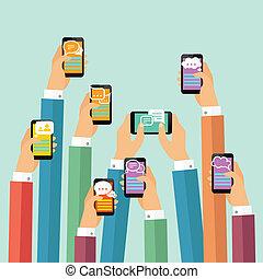 móvel, cartaz, conversa