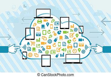 móvel, conexão, nuvem