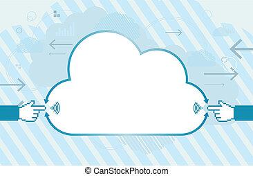 móvel, conexão, nuvem, copyspace