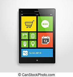 móvel, cor, dispositivo, modernos, interface