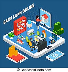 móvel, crédito, escritório, conceito