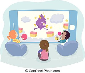 móvel, crianças, stickman, jogo, ilustração, jogo arcade