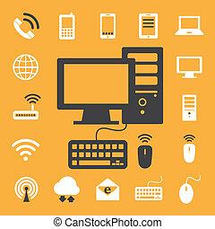 móvel, dispositivos, computador, e, rede, conexões, ícones, set., ilustração