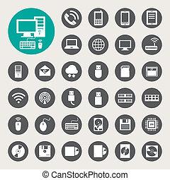 móvel, dispositivos, computador, e, rede, conexões, ícones, set.