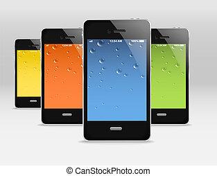 móvel, dispositivos, modernos, grupo