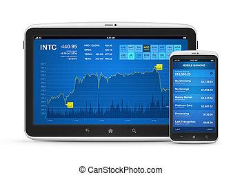 móvel, dispositivos, operação bancária, digital, mercado, ...