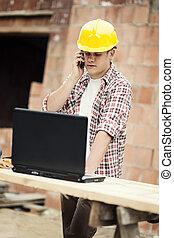 móvel, falando, carpinteiro, telefone