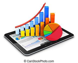 móvel, finanças, contabilidade, e, estatísticas, conceito