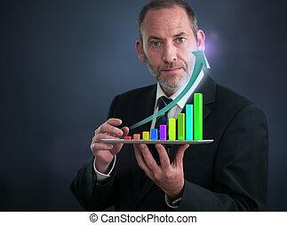 móvel, finanças, e, estatísticas, analytics
