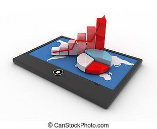 móvel, finanças, e, estatísticas, conceito
