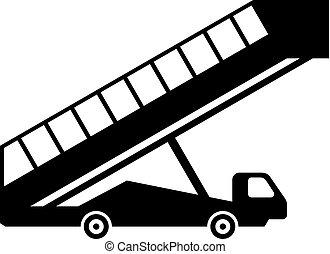 móvel, gangway, aeroporto, (ladder)