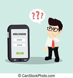 móvel, homem negócios, forgot, pagamento, p