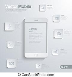 móvel, infographics., smartphone, ícone, interface.