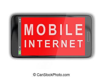 móvel, internet, conceito