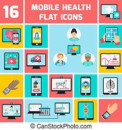 móvel, jogo, saúde, ícones