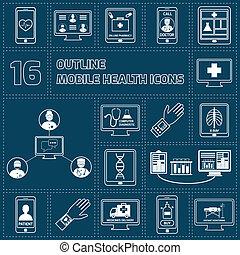 móvel, jogo, saúde, esboço, ícones