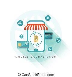 móvel, loja, global
