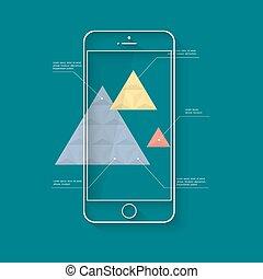 móvel, longo, telefone, modelo, infographics, trendy, sombra, apresentação, ou