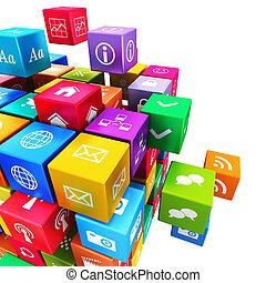móvel, mídia, conceito, tecnologia, aplicações