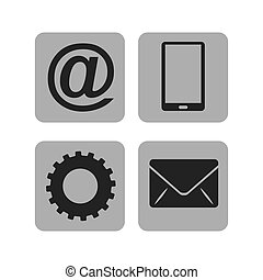 móvel, mídia, social, ícone