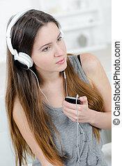 móvel, música, através, telefone, dela