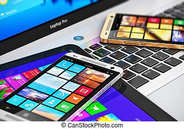 móvel, modernos, dispositivos