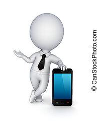 móvel, modernos, pessoa, telefone., pequeno, 3d