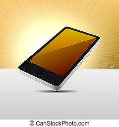 móvel, modernos, realístico, vetorial, telefone., vista, 3d