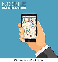 móvel, navegação, conceito