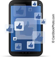 móvel, networking, social