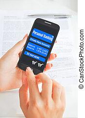 móvel, operação bancária, app, ligado, smartphone