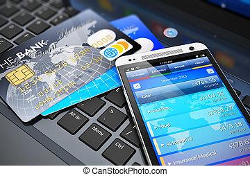 móvel, operação bancária, conceito, finanças