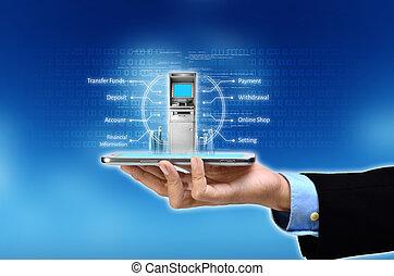 móvel, operação bancária, conceito